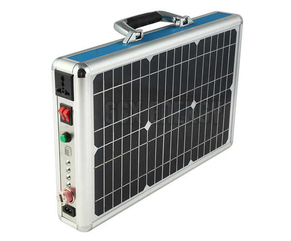15W Portable Solar Power System + Ultra Thin Briefcase Design + LED Lighting + Music System+ AC Charger + AC Out